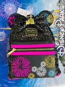 Disney Parks Minnie Mouse Main Attraction Fireworks And Castle Loungefly Backpack