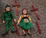 Vintage 1950's Hazelle's Popular Marionettes Robin Hood And Marian String Puppet