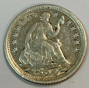 Almost Uncirculated 1854 Philadelphia Mint Silver Seated Half Dime. Raw0262