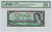 ✪ 1954 1 Bank Of Canada Pmg Bc-29ba - 55 Devil Face Replacement A/a