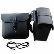 2pcs Motorcycle Pu Leather Landr Saddle Bags Storage Tool Pouch Black Waterproof