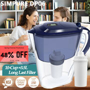 10-cup Water Filter Pitcher W/4 Filters=1year Use Filter Jugzero 0 Tds Bpa Free