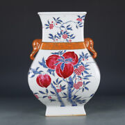 13.5 Antique Old Chinese Porcelain Dynasty Famille Rose Peach Elephant Ear Vase