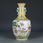 12.4 Old Porcelain Qing Dynasty Jiaqing Mark Famille Rose Eight Immortals Vase
