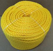 Coil Of 1/2 X 600and039 Yellow Polypropylene Rope Poly Boat Dock Work Tree Twisted