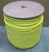 1 X 600and039 Yellow Polypropylene Rope Poly Boat Dock Work Tree 3-strand Twisted