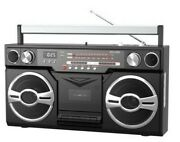 1980s Portable Boombox Cassette Player With Bluetooth Am/fm Radio Usb Sd Aux