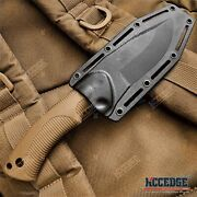 9 Tactical Knife Fixed Blade Knife W/ Kydex Sheath Coyote Brown Survival Knife