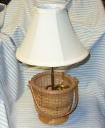 Lightship Style Wicker Basket Electric Table Lamp