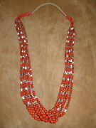 Whip Wrap 5 Strand Coral Necklace --- Medit. Coral -- Round And Tube Beads
