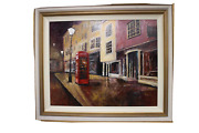 Timmy Mallett, Oil On Board Night Time Phonebox Townscape By A Street Lamp Large