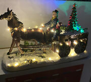 Horse Carriage Animated Tree Lighted Musical Boy Country Christmas Village 14andrdquo L