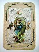 Gorgeous Large Victorian Valentine W/silver Paper Lace, And Die Cut Scraps