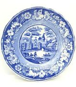Antique Blue And White Transfer Plate View Of Oxford Fishermen Bucolic Cottage R