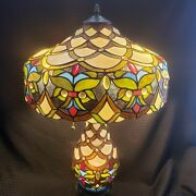 Vintage Large Stained Glass Lamp Double Bulb Stunning Estate Find