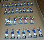 Lot Of 30 Vintage Lead Toy Soldiers Infantry Flag Bearer Cavalry And Band Lot D