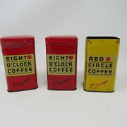 3 Vintage Coffee Tin Banks Red Yellow Eight O'clock Red Circle Promotional