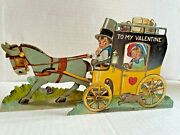 Vintage 1900s Dimensional Valentineand039s Day Card W/ Horse And Wagon