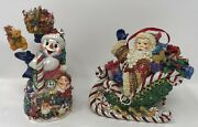 2 Christopher Radko Christmas Ornaments Frosty Gift Galore And Santa's Candy Ride