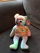 Original 1996 Ty Beanie Baby Peace The Bear - Rare And Retired - Tri-color Face