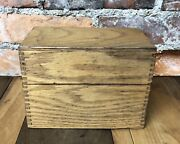 Vintage Oak Index Card Recipe File Box W/index Guides Wood Dove Tail Joints