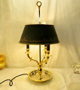 French Empire-ormolu Bouillotte 3 Arm French Desk Lamp With Metal Tole Shade - C