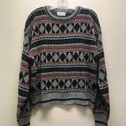 Vintage 90s Hennessy By Van Heusen Womens L Oversized Pullover Grandpa Sweater