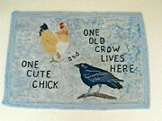Ar Vintage Chick And Crow Hand Hooked 100 Wool Rug In Signed By Anne Eastwood