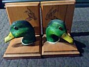 Vintage Carved Wood Decoy Duck Heads Glass Eyes Wooden Bookends
