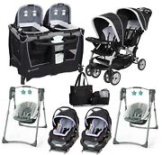 Baby Double Stroller With 2 Car Seats 2 Swings Playard Bag Combo Twins Uni Sets