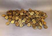 Old Mgm Movie Prop - Lot Of 187 Embossed Gilt Metal Faux Roman Coins - Ben Hur