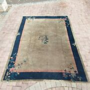 Antique Chinese Art Deco Rug, Some Ware, Blue, Pink, Green 8ft 2in X 12ft. 7in.