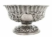 925 Antique Sterling Silver Chased Ornate Reposse Design Round Bowl On Pedestal