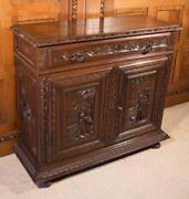Antique French Breton Brittany Sideboard/buffet/server In Solid Chestnut Wood