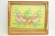 Authentic Hermes Wicker Serving Tray Large Glass Cover Quail Cotton Place Mat