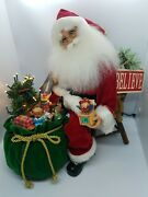 Karen Didion Believe Santa Lighted Merry Christmas Toy Bag Signature Collection