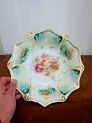 Stunning Rs Prussia Large Handpainted Roses Deep Porcelain Bowl