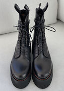 1295 New R13 Black X Stack Leather Platform Boots 38 Combat Punk Rock Sold Out