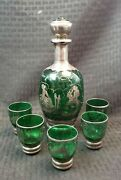 Antique Italian Style Green Glass Decanter Set With Shot Glasses Sterling Over