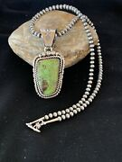 Gift Navajo Pearls Sterling Silver Green Gaspeite Pendant Necklace Set Rare 2985