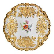 Meissen Porcelain Hand Painted And Gilded Deep Plate Diameter 31cm