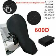 Black 600d Boat Full Outboard Engine Cover Waterproof Fit 6 - 225hp Motor Us