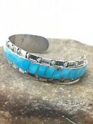 Zuni Old Pawn Sterling Silver Handmade Turquoise Inlay Bracelet 5.5 4434