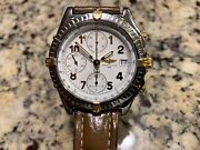 Breitling Mens Watch Mint Chronomat Gold And Stainless Shark Skin Band B13050.1