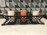 Burrite Tumblers Cups + Plastic Carry Caddy Vintage Retro Party Patio Set Of 6