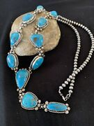 Stunning Native Am Navajo Sterling Silver Kingman Turquoise Lariat Necklace 878