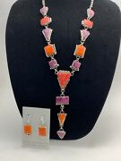 Stunning Navajo Spiny Oyster Lariat Necklace Sterling Silver Pendant Set 4612