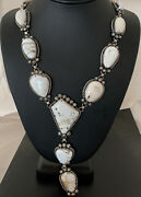 Mens Handmade Navajo Sterling Silver White Buffalo Turquoise Lariat Necklace932