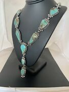 Native American Navajo Sterling Silver Royston Turquoise Lariat Necklace 697