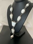 Handmade Long Navajo Sterling Silver White Buffalo Turquoise Lariat Necklace486